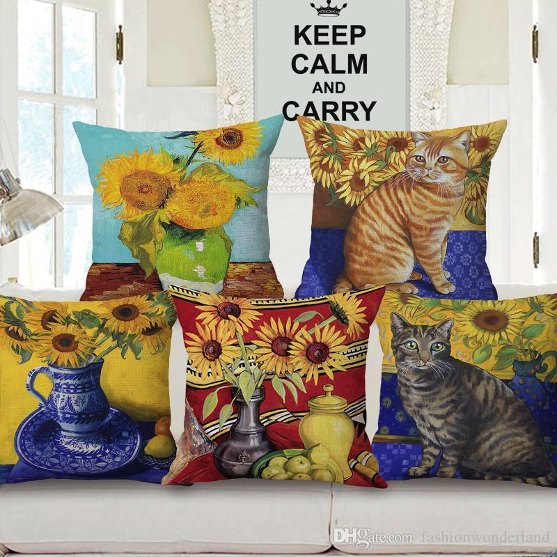 Pretty linen 45x45cm cushion cover Van Gogh /'Sunflowers/'