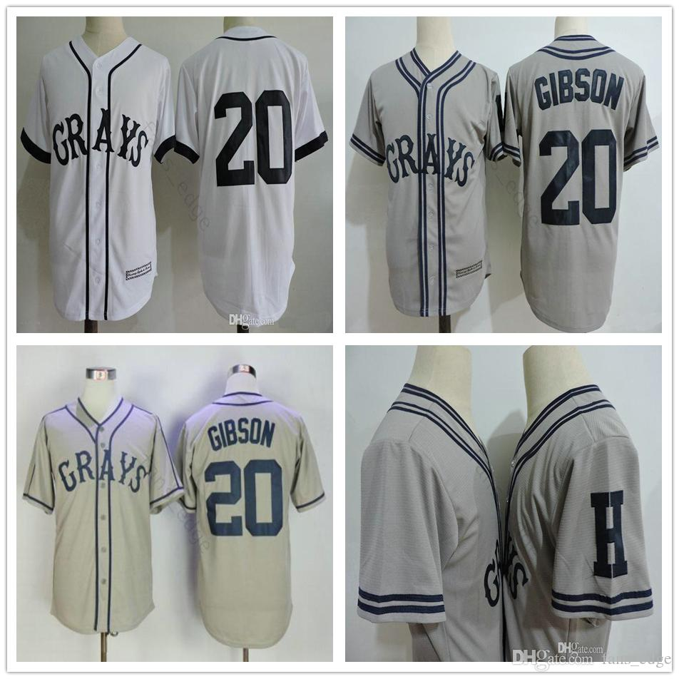 Film ABD Negro Ligler NLBM Homestead Greys # 20 Josh Gibson Jersey Dikişli Greys Film Beyaz Gri Erkek Beyzbol Formalar S-XXXL