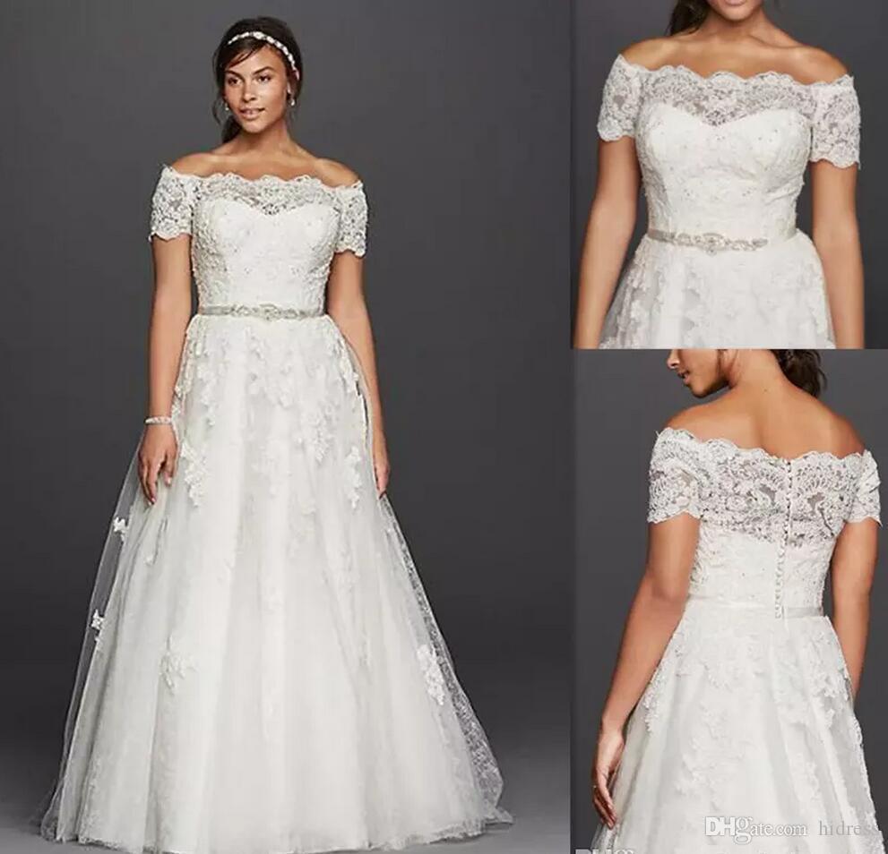 Свадебные платья больших размеров с открытыми плечами Прозрачные кружевные короткие рукава Свадебные платья Тюль Аппликации из бисера Белое дешевое платье для полных невест