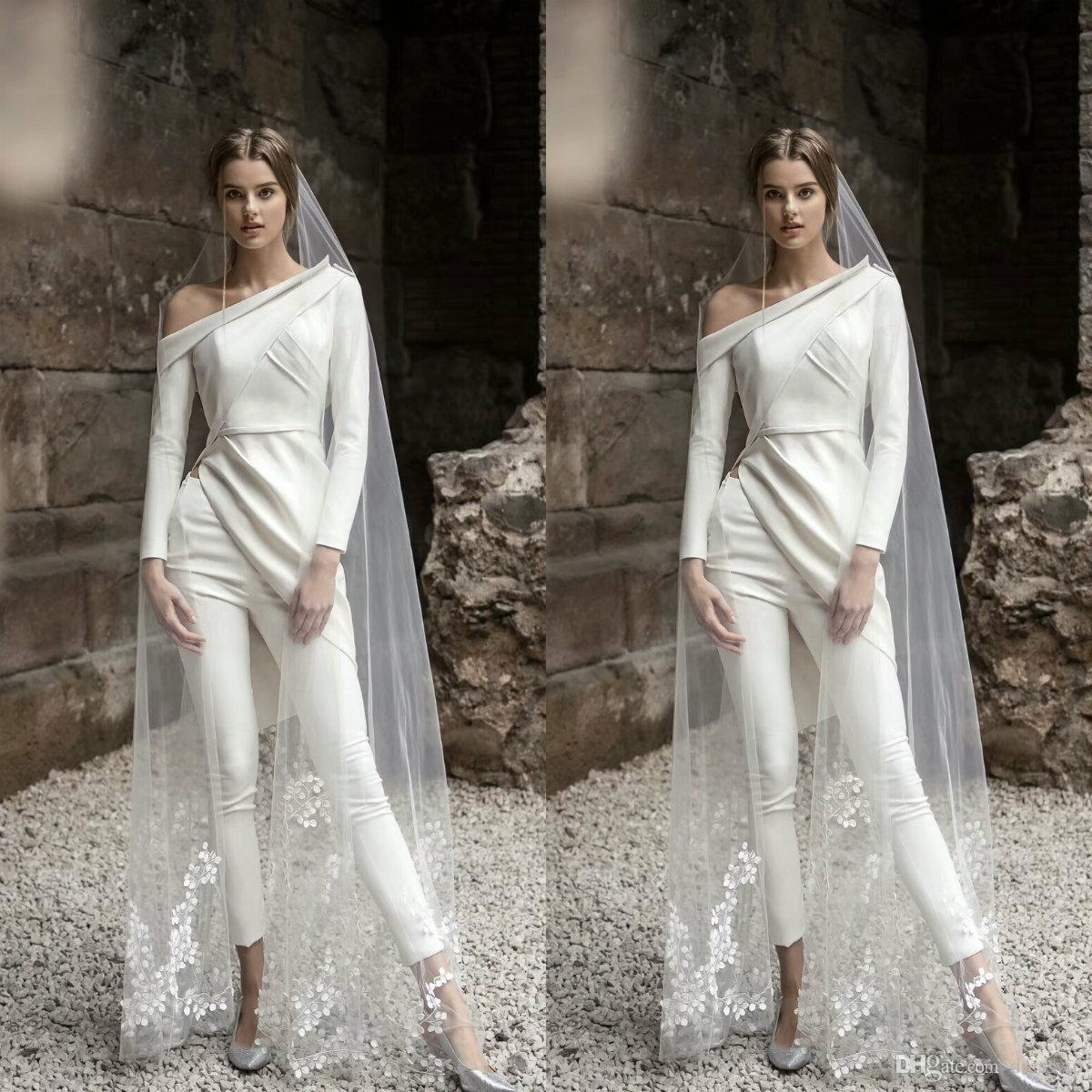 2020 Pantalon de mariée élégant costume manches longues robes de mariage de Bohème Deux Pièces longueur cheville Robes de mariée Boho Robes De Novia