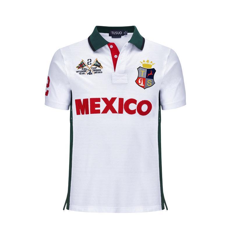 Вышивка Поло рубашка многоцветная с коротким рукавом мужчины Поло Спорт лоскутное 3 цвета высокое качество S-5XL челнок