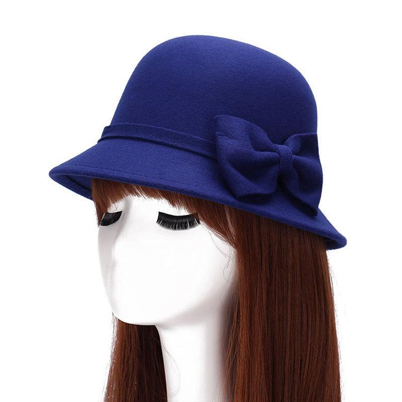 Womens Wool Fedora Hat Fold Brim Trilby Hat Vintage Style Bucket Hat Classic Bowler Hats
