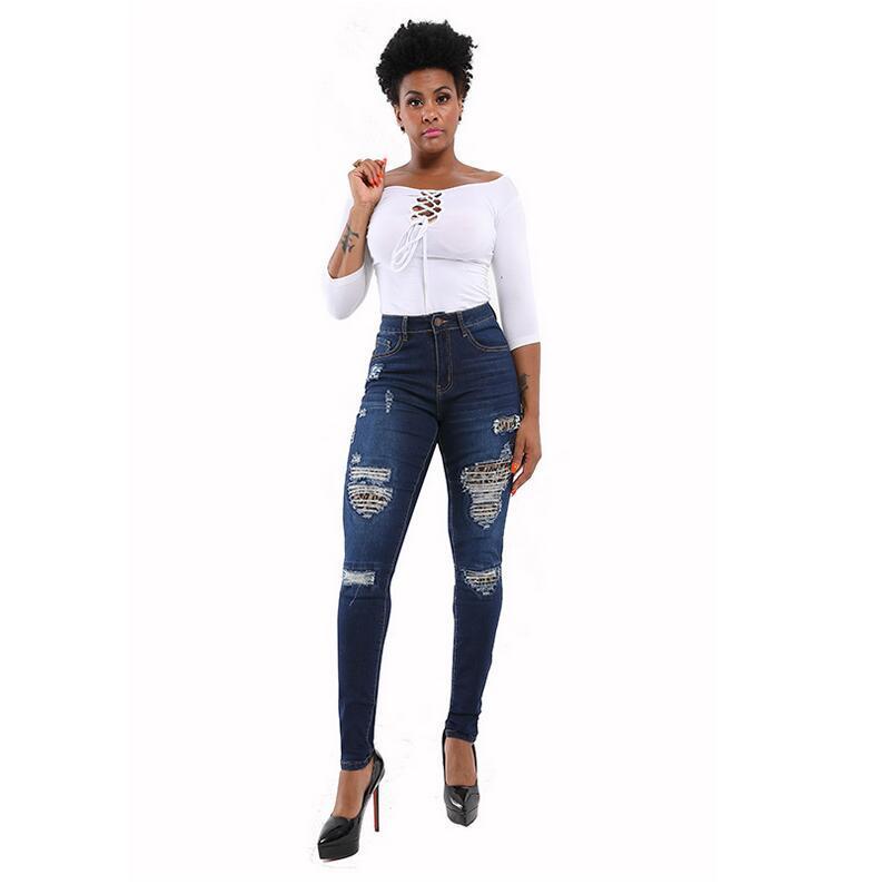 Unica donna Stretch strappato sexy skinny jeans dello stilista a vita alta Slim Fit Denim Pantaloni Biker matita pantaloni per le donne CK010