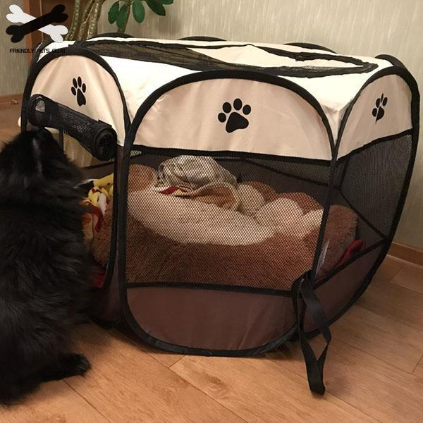 Portable Folding Pet tent Dog House Cage Dog Cat Tent Playpen Puppy Kennel Easy Operation Octagon Fence 2810