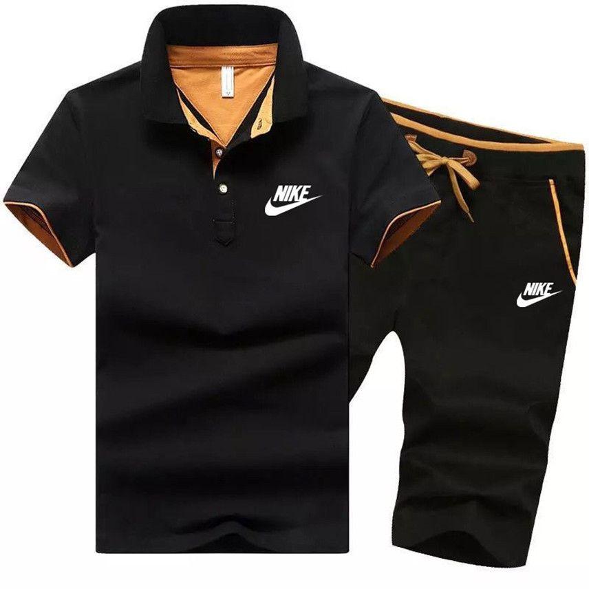 الصيف بالاضافة الى حجم 4XL الرجال العلامة التجارية قصيرة الأكمام رياضية اثنين من قطعة تعيين البيضاء بولو قميص عارضة السراويل الرياضية إلكتروني ملابس سابغة 1423