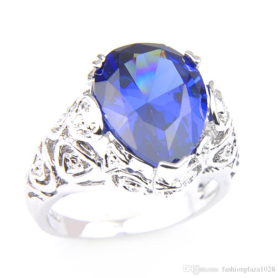 10 Pcs/Lot Vintage Blue Women's 925 Sterling Silver Plated Rings Water Drop Swiss Blue Topaz Gems Fashion Ring Jewelry Gift