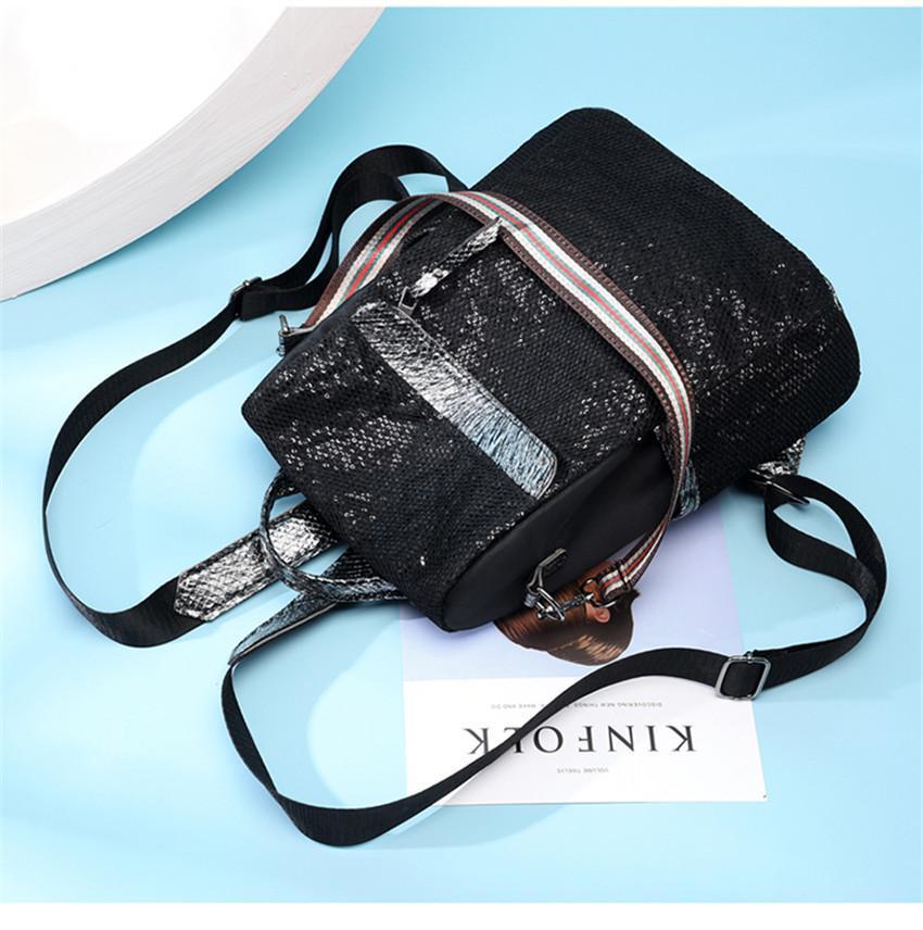FDB Serpentine Sequins Women's backpack High Quality PU girl Backpacks Fashion nylon Shoulder Bags school shopping travel bag