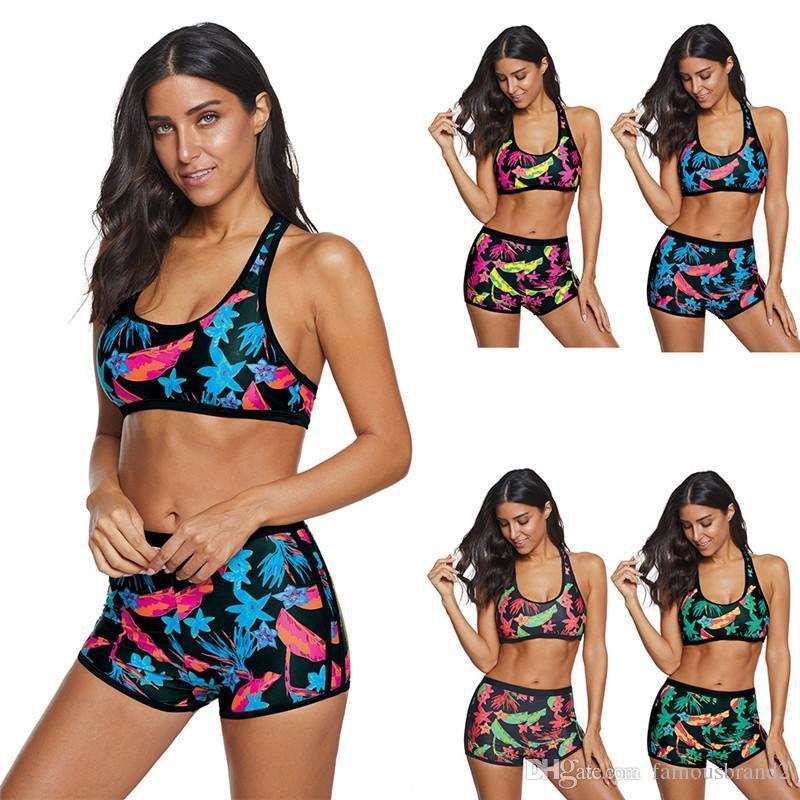Womens Plus Size Summer Swimwear Fashion Flora Printed Sports Tankinis Designer Flat Corner Ladies Casual Bikini