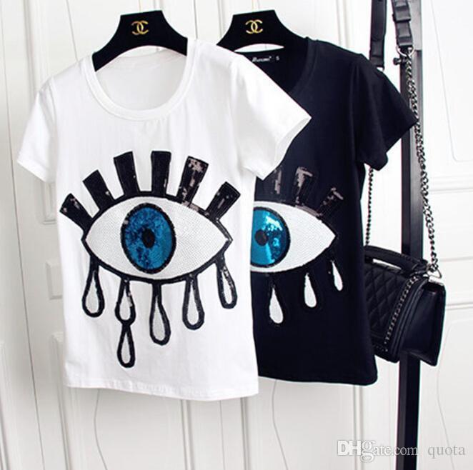 Большие Глаза Блестки Женщины Топы Шеи С Круглым Рукавом Модный Дизайн Женская Мода Футболки с Круглым Вырезом