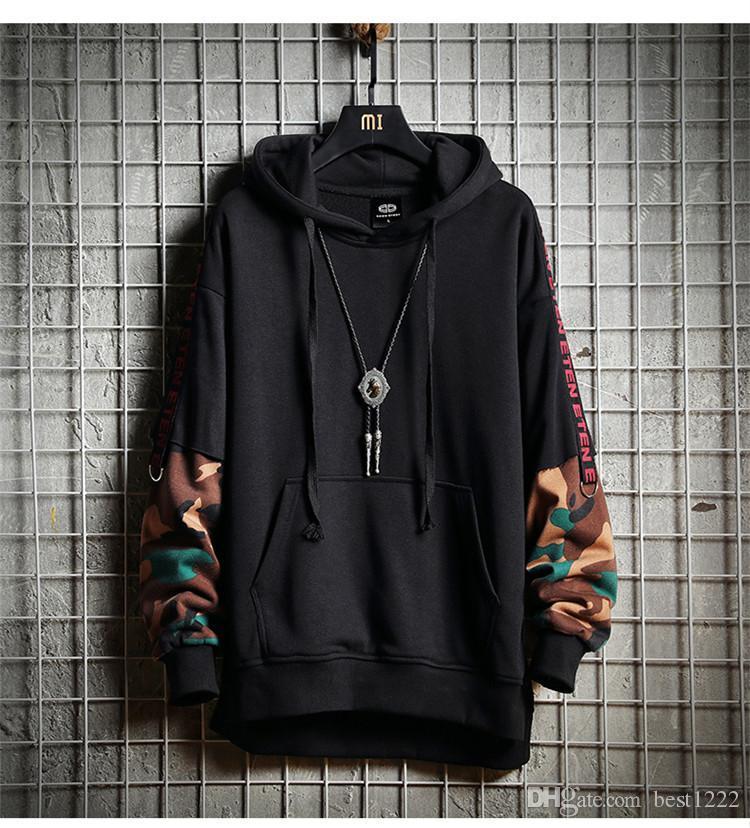 Camouflage Hip Hop Hommes Sweat À Capuche Automne Coton Noir Homme Sweatshirt Tops Gris Doux Pulls À Capuche Harajuku Lâche Streetwear Manteau