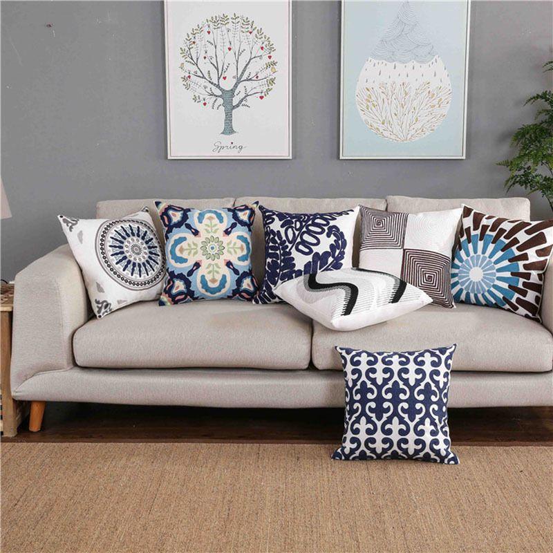 Almofada Início bordado decorativa capa azul floral folhas Mandala Aceno fronha Praça Cotton fronha 45x45cm Y200104