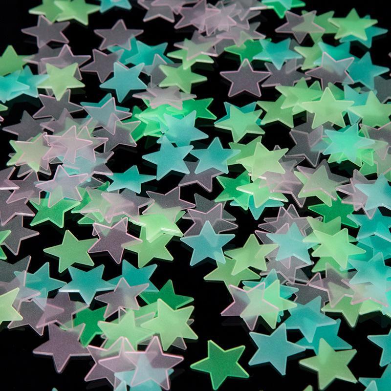 100pcs التي / مجموعة 3D مضيئة نجوم ملصقات يتوهج في الظلام ملصقات الحائط لغرفة الاطفال ديكور المنزل صائق خلفية الديكور DBC BH2647