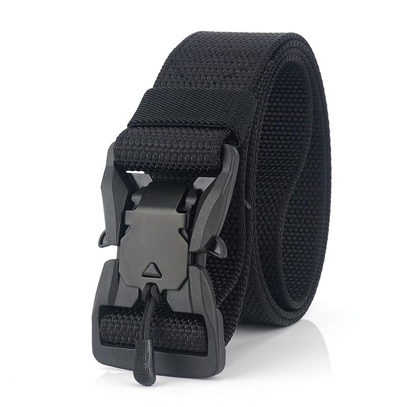 New Genuine Tactical Belt Hard ABS Quick Release Magnetic Buckle Army Belt Soft Real Nylon Sports Accessories Adjustable Length