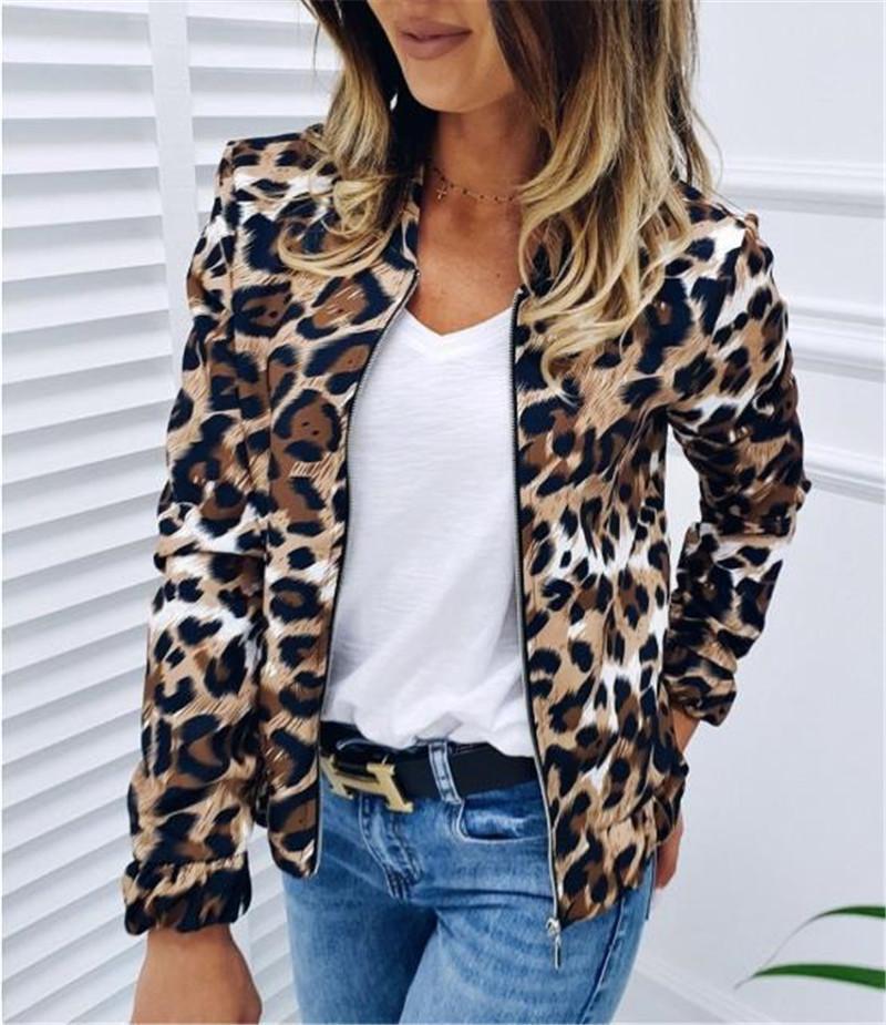 نمط الساخنة للمرأة الستر أزياء ليوبارد نصب منصة سليم الستر كم طويل عادية مع زيبر الستر للمرأة معطف