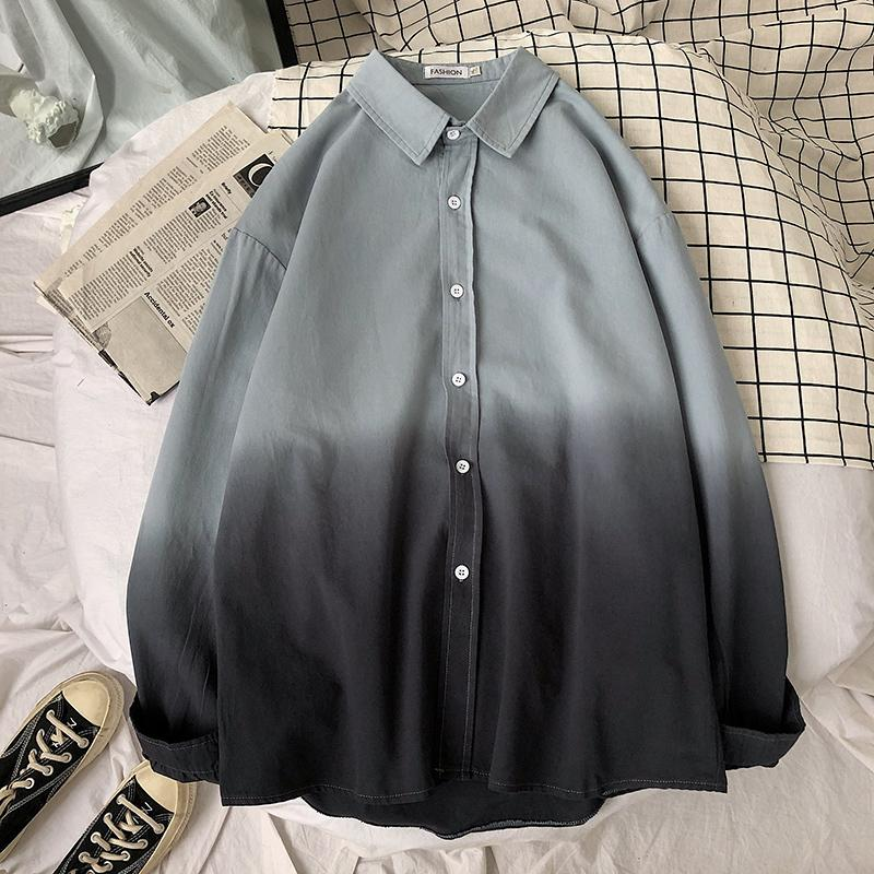 Spring Shirt Men's Fashion Business Casual Society Men Dress Shirt Streetwear Hit Color Loose Long-sleeved Shirts Mens M-5XL