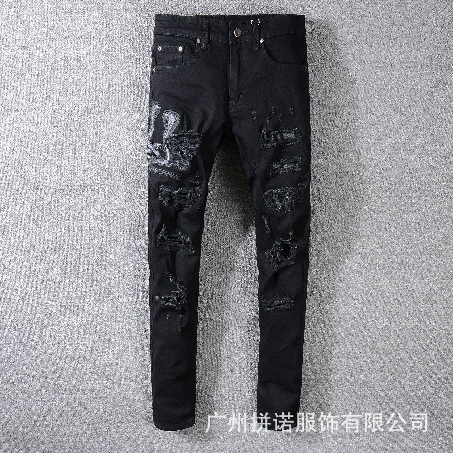 jeans denim concepteur de luxe pour hommes en détresse Jeans cycliste Slim Ripped Fit Motard pour les hommes pantalons de luxe Fashion Designer Hip Hop pn36
