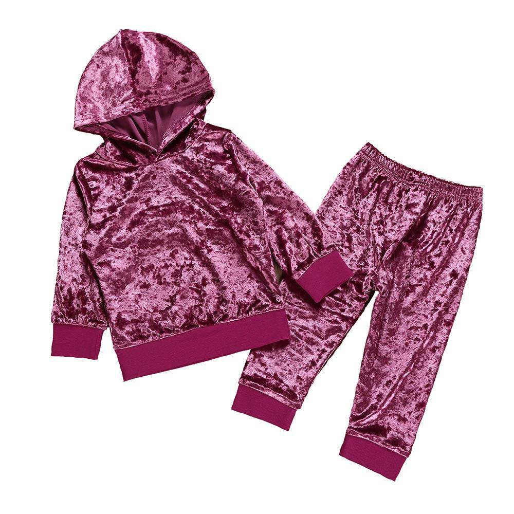 Boutique Детская мода одежда набор малышей дети девочек девочек с длинным рукавом твердые вершины + брюки набор одежды набор одежды для девочек