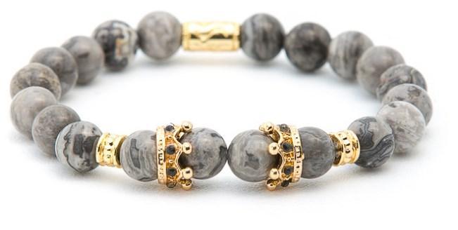 8 mm cvf424 or argent pierre nature Reiki ajusté élastique zircon cz cuivre zircone cubique Charm Bouddha marbre Couronne Bracelet