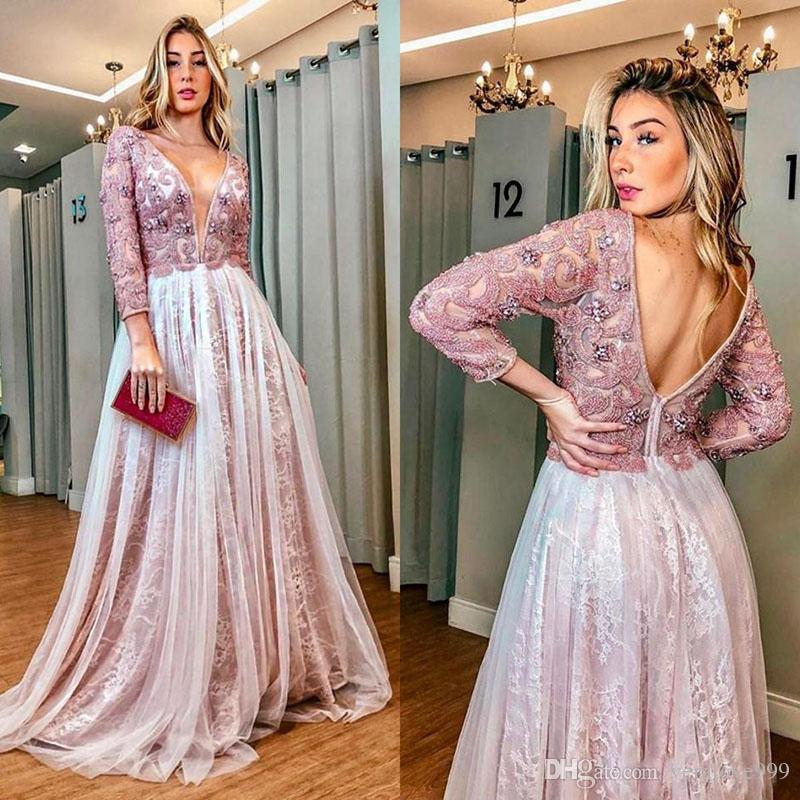 Long Sleeve Reception Evening Dresses 2020 Backless Lace Beaded Floral Arab Aso Ebi kaftan Women Prom Formal Second Gowns