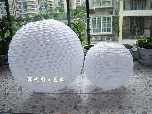 Weiße, runde 60cm Papierlaterne 24inch
