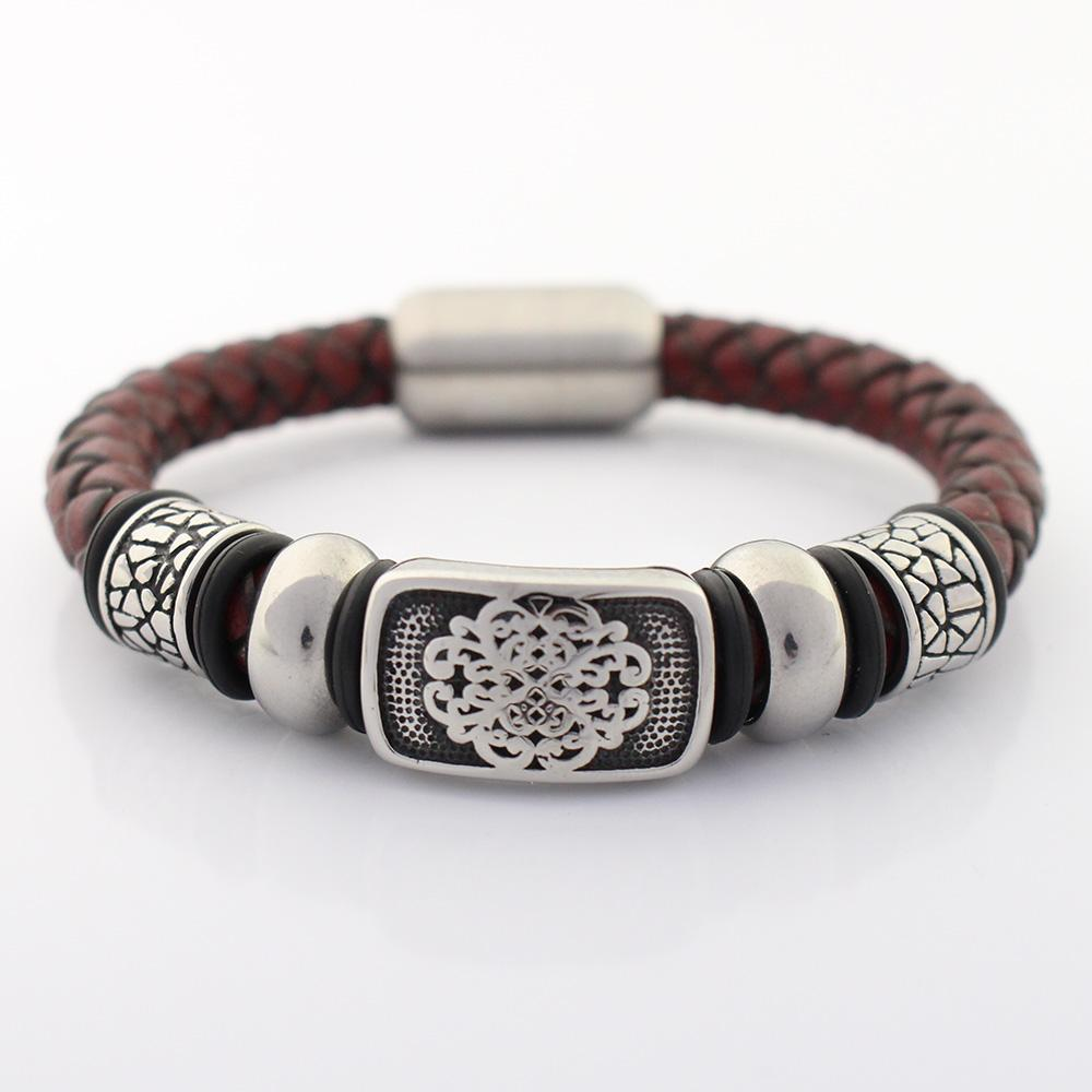 Mens Stainless Steel Genuine Leather Bracelet Bangle Cord Magnetic Clasp Black Silver 8mm