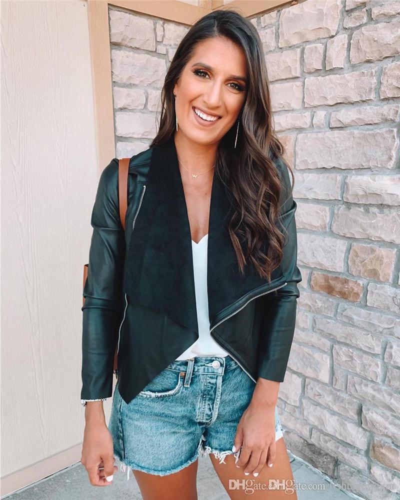 PU İnce Bayan Palto Sonbahar Uzun Kollu Siyah Bayanlar Dış Giyim Moda Yaka Boyun Kadın Giyim ile Fermuar