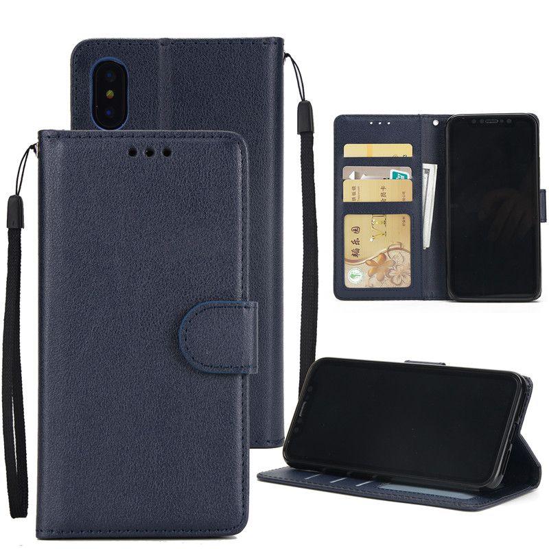 Para la PU de cuero del teléfono celular iPhone Xs Max Xr S10 Lite 8 más la caja de lujo de la carpeta caso cubierta trasera con ranuras de tarjetas de crédito