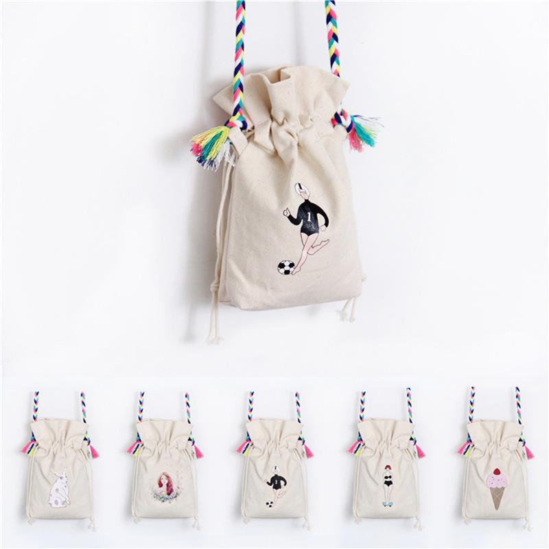 Superior2019 The Original Night Wind Ulzzang Canvas Bag Single Shoulder Messenger Woman Lovely Bucket Package Pulling Rope Hand