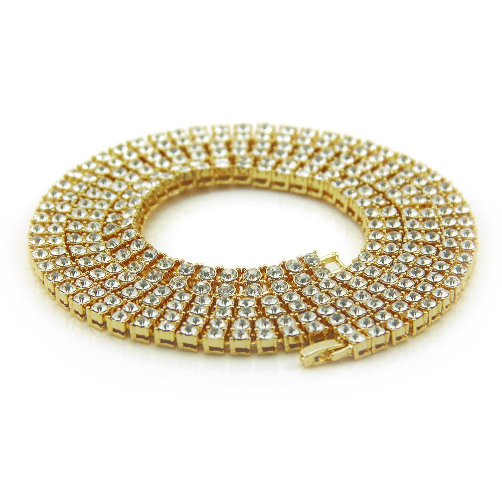 New Fashion Full Diamond Blingbling Double Row Tennis Necklace Iced Out Personalized Hip Hop Long Chains Miami Rapper Jewelry Gifts for Men