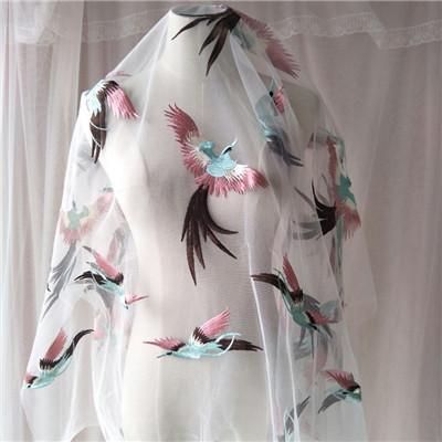 Exclusive tissus de mode de gamme de haut fil net tissus de dentelle de tissu de broderie de fleurs de soie bourgeon pour Robe bricolage