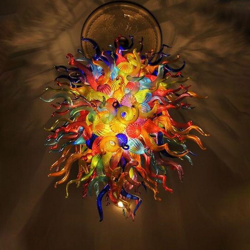 مصابيح بالجملة الثريات الإضاءة متعدد الألوان زجاج مورانو الزجاج الثريا e27 led 110-240 فولت المعاصرة معلقة تعليق قلادة الخفيفة