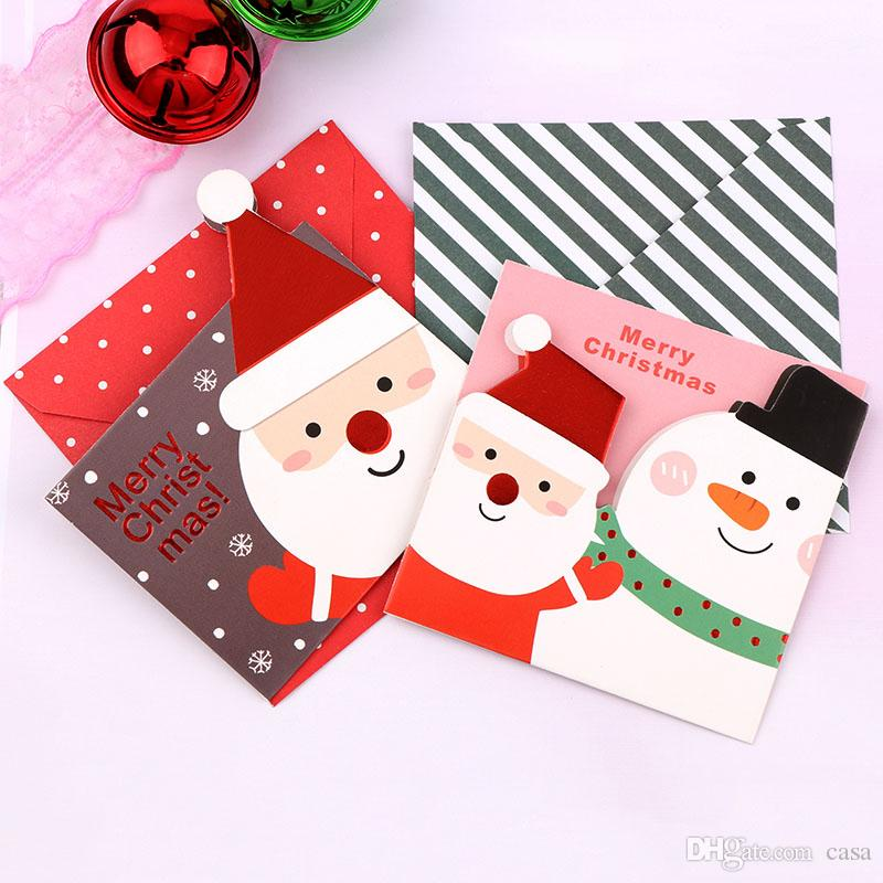 Merry Christmas Santa Claus Paper Greeting Postcards Wishes Craft DIY Kids Festival Greet Cards Gift Kawaii Stationery Free Shipping