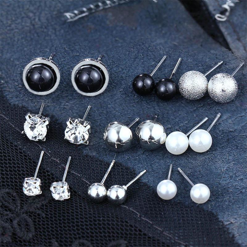 9pair / Set de pendientes bola del partido de Bohemia Pendientes de cristal infinito Conjunto para las mujeres Bijoux perla simulada 2019