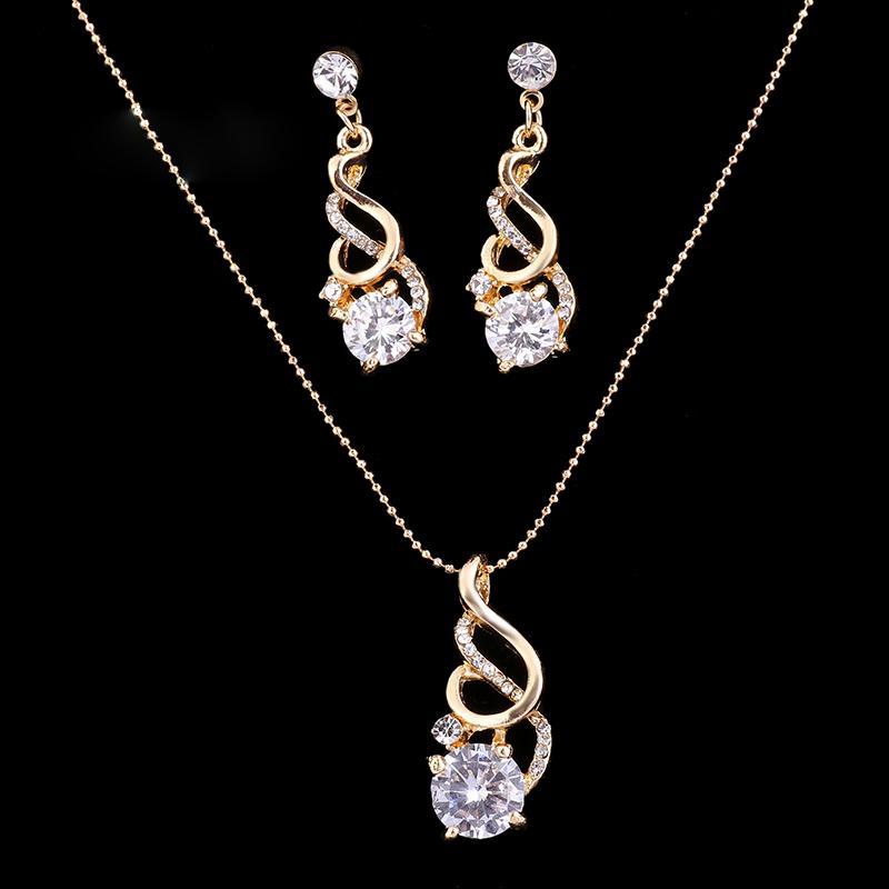 I monili CZ di cristallo da sposa moda per le donne di S. Valentino Partito Beads orecchini collana indiana africani Parure