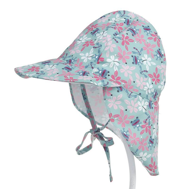 Swim Hat Anti-UV Sun Protection Cap Neck Flap Baby Sun Hat Cartoon Printed