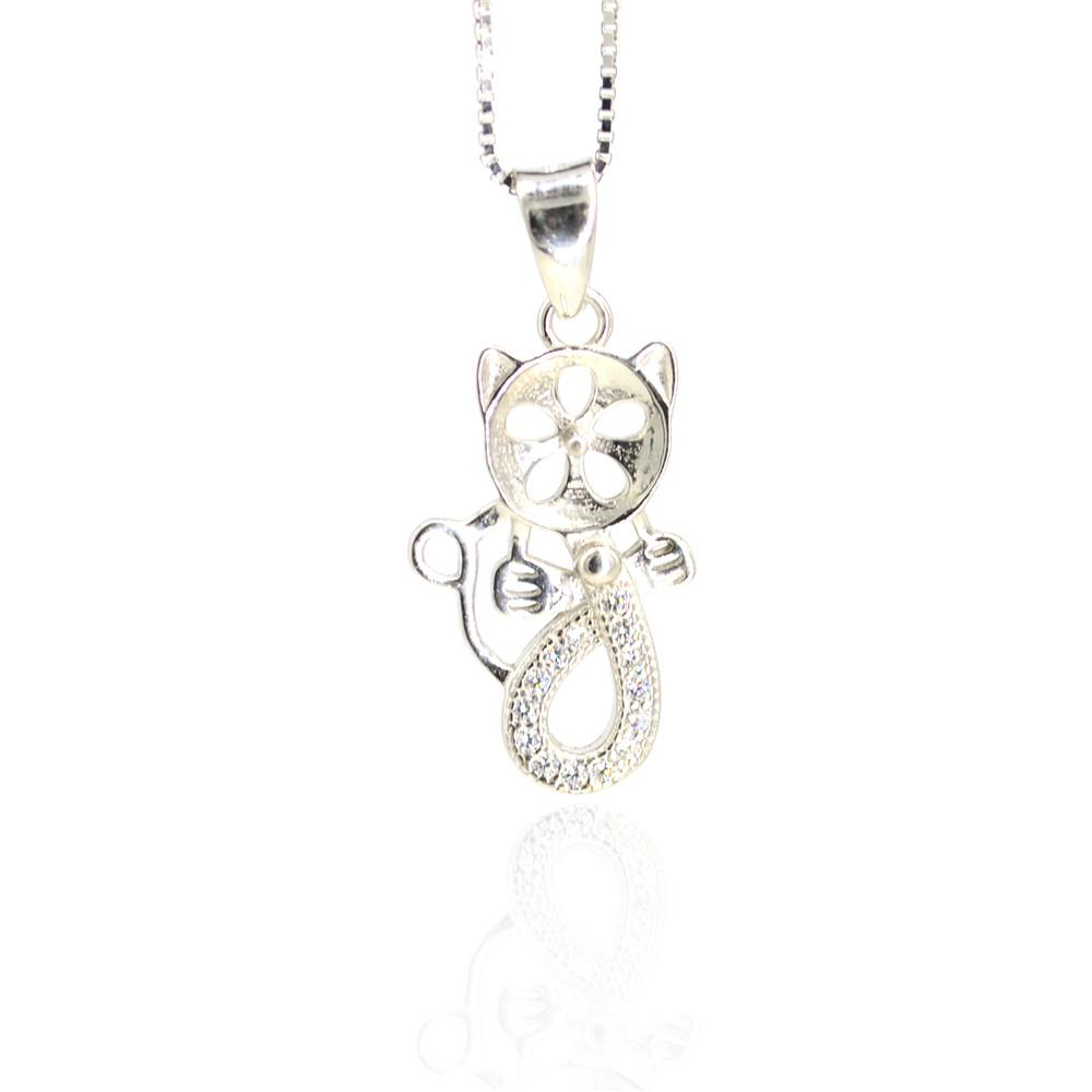 Whloesale S925 sterling silver Pendant mountings Cute cat pendant mountings for women pearl jewelry diy free shipping