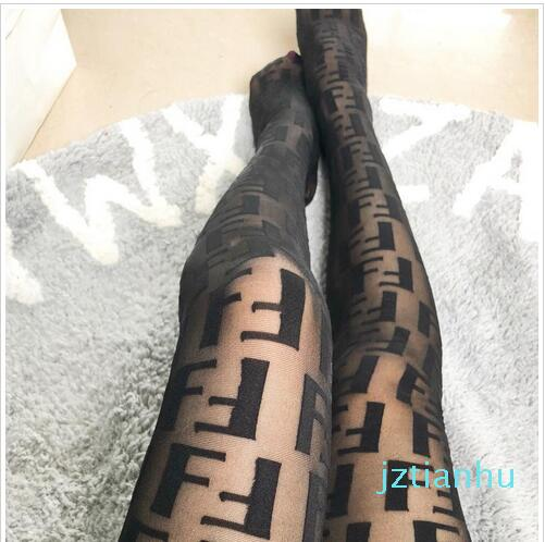 5 Color Women Tights Black Letters Logo Pantyhose Sexy Thin Jacquard Romper Silk Stockings Female Summer Sexy Socks Lace Female Hosiery