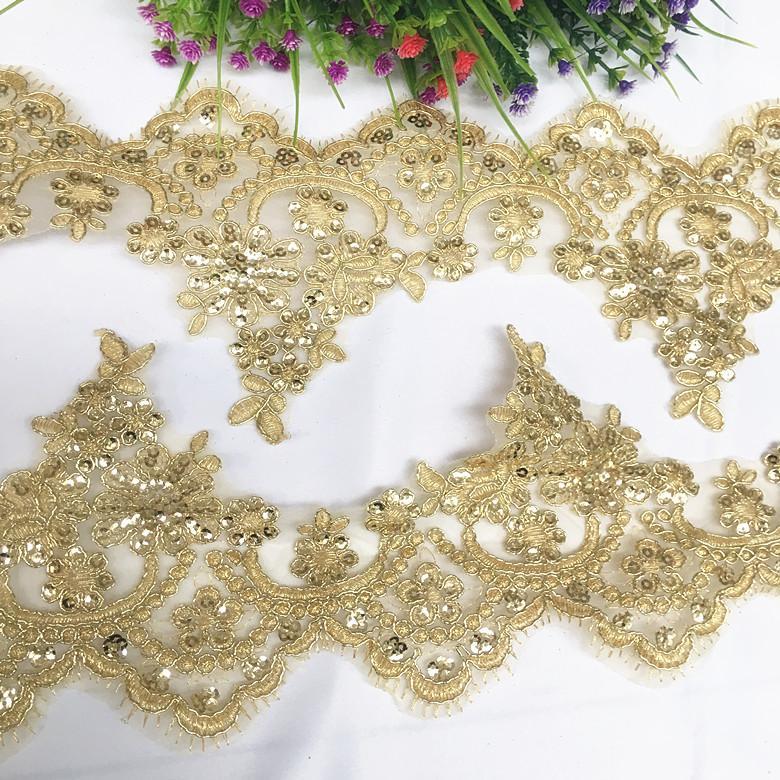 3Yard / Lot large 13cm bordure dorée dentelle os voiture sequin accessoires en tissu de dentelle décoration maison rideau vêtements robe de mariée