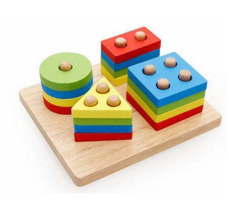 매력적인 교육 몬테소리 장난감 교육 나무 기둥 형상 모양 지능 재미있는 수학 장난감 어린이 어린이