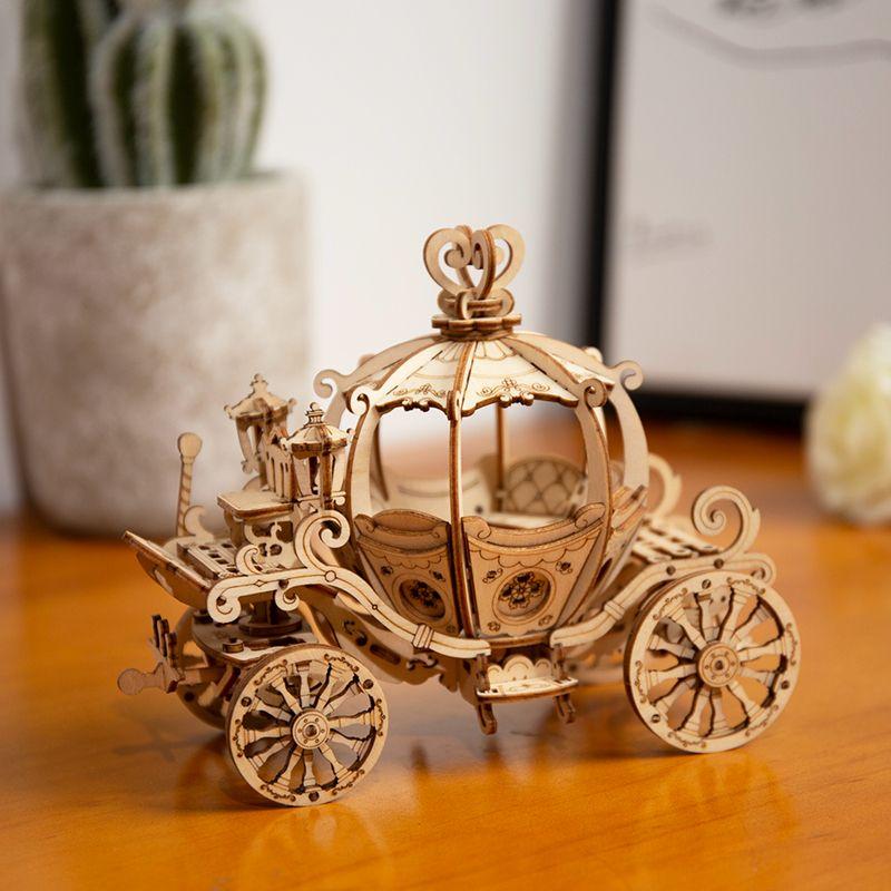 182pcs DIY المنقول 3D القرع خشبي العربة نموذج البناء كيت لعبة هدية للأطفال صديق TG302