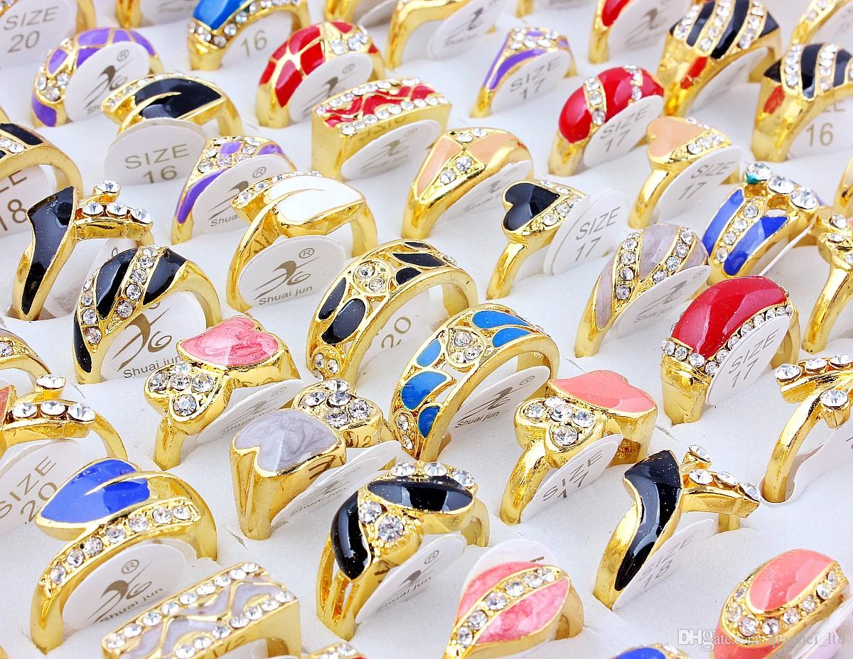 Top Quality Advanced Alloy Gold-Plated Rhinestone Drop Oil Ring New Mixed 50Pcs Man And Woman Charm Luster Rings 6-9