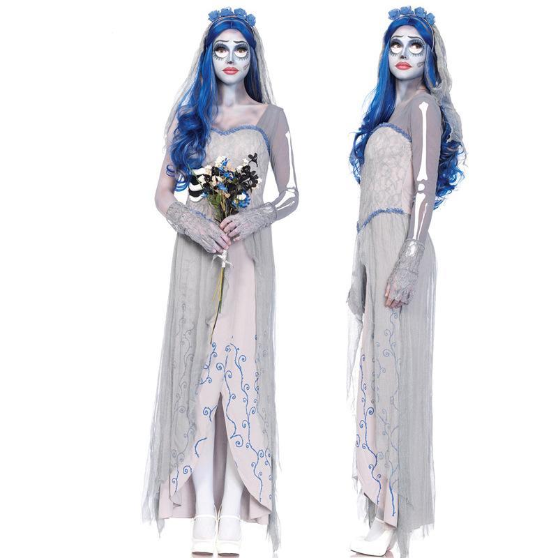 Terribile fantasma vestito da sposa delle donne di carnevale di Halloween Vampiro Cosplay Zombie Skeleton pizzo stampa vestito operato dal lungo grigio