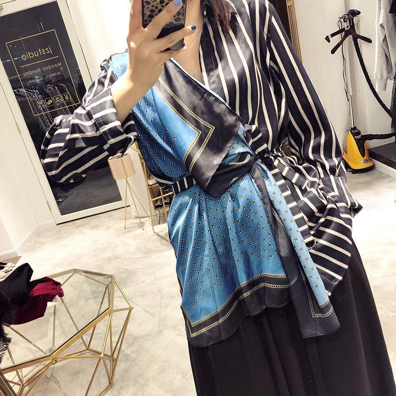 Deat 2019 Nouveau Printemps Et D'été Mode Femmes Vêtements Turn-down Col Rayé Patchwork Chemise Femme Écharpe Spliced We92605l J190618