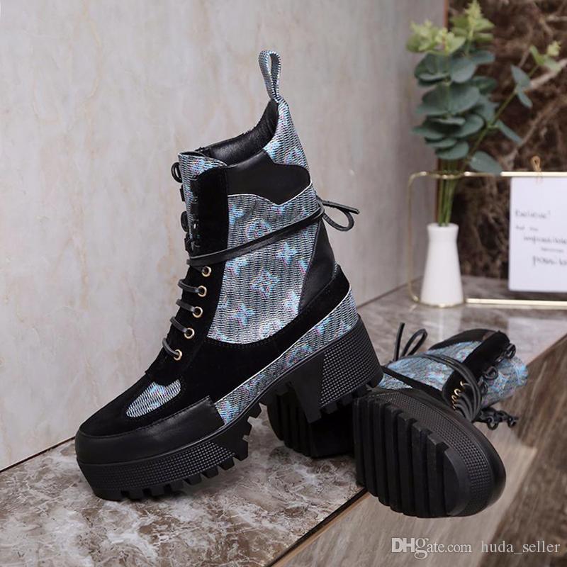 Ocasionales cómodos zapatos de las mujeres zapatos de plataforma Laureado Desert Boot Womens Scarpe da Donna Moda Diseño Botas Mujeres peso ligero con cordones