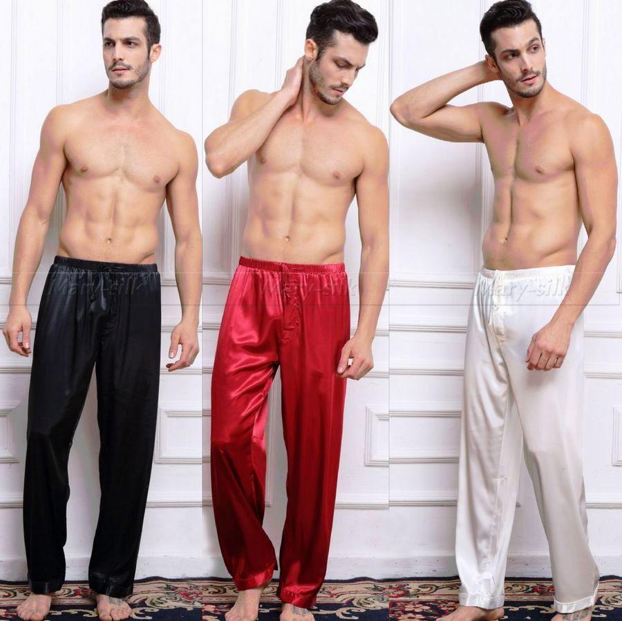 Mens raso di seta Pigiama Pigiama Pantaloni Lounge pantaloni sonno Pantaloni di trasporto S M L XL 2XL 3XL 4XL più