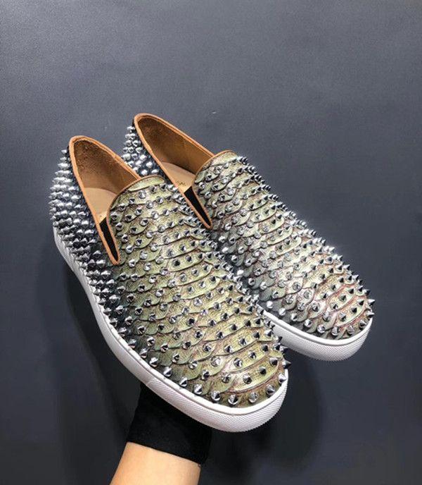 2020Fashion красные нижние мокасины роскошные вечерние свадебные туфли дизайнерские линии питона замшевые Шипы шипованные платья Повседневная обувь для мужской обуви