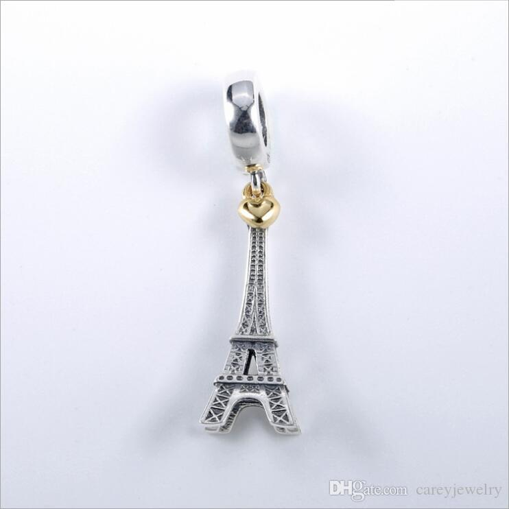 2020 New Genuine 925 Sterling Silver PARIS EIFFEL TOWER Dangle Charm Beads Fit Pandora Charms Bracelet Necklace DIY Jewelry Making
