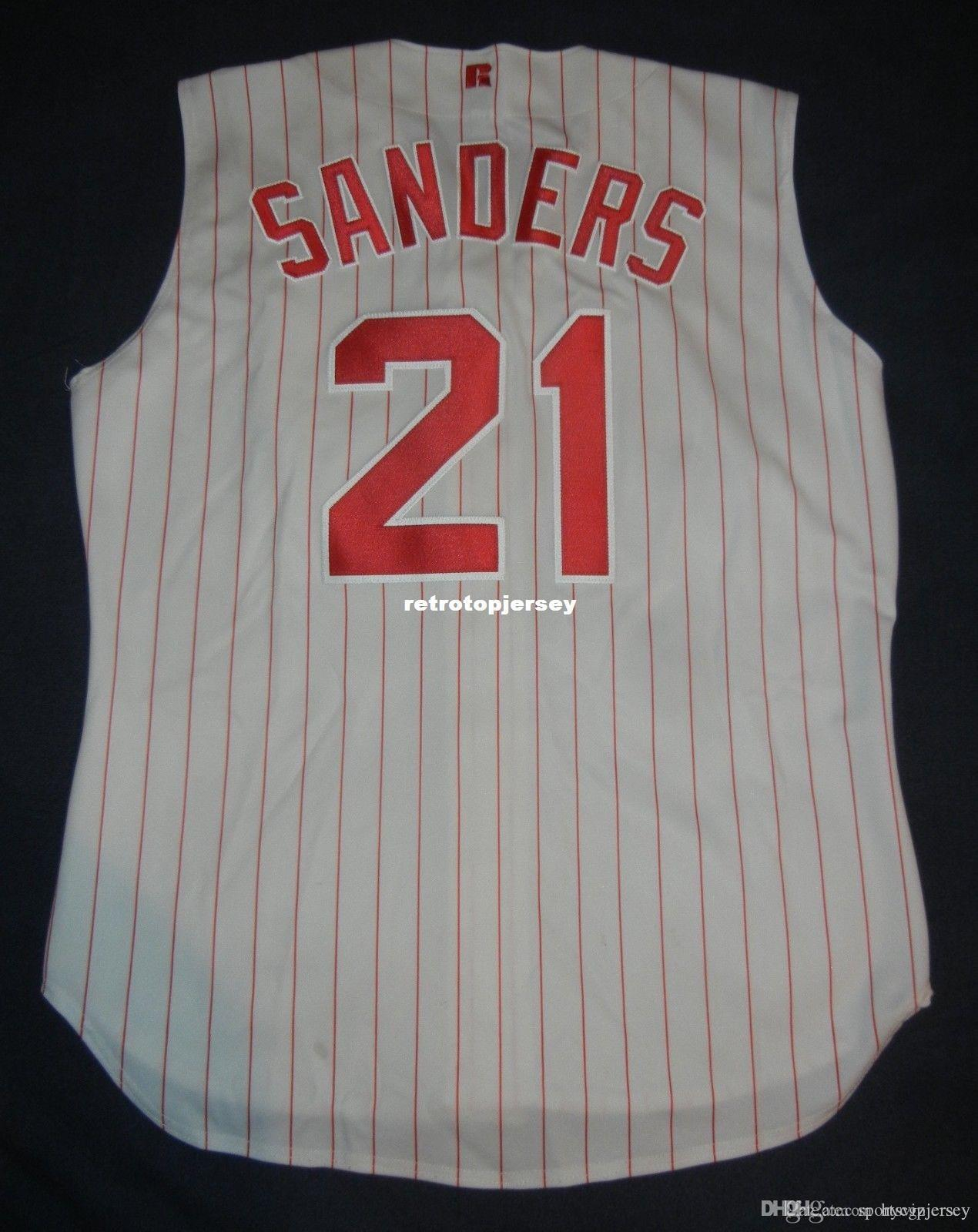 Pas cher Retro # 21 Deion Sanders Russell Athletic Top Jersey Hommes Cousu maillots de baseball