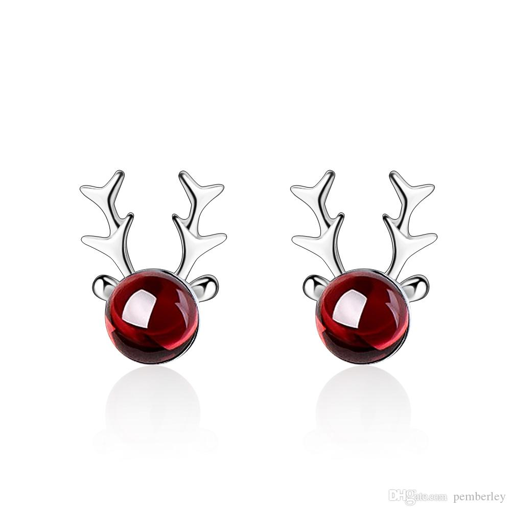 ED672 korean and japanese style silver color girl earrings christmas fashion women earring accessories claret elk