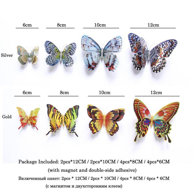 12шт золото / серебро двойной слой 3D бабочка стикер стены украшения дома голографические бабочки на стену магнит наклейки на холодильник